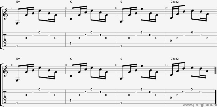 перебор основной гитары: